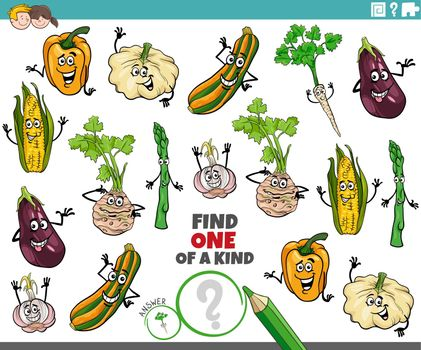 one of a kind task for children with cartoon vegetables
