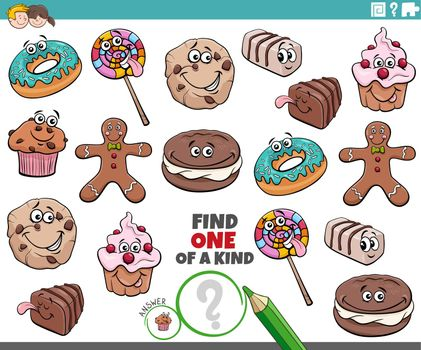 one of a kind game for children with cartoon sweets