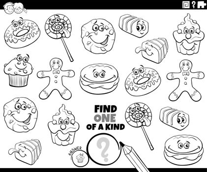 one of a kind game with cartoon sweets coloring book page