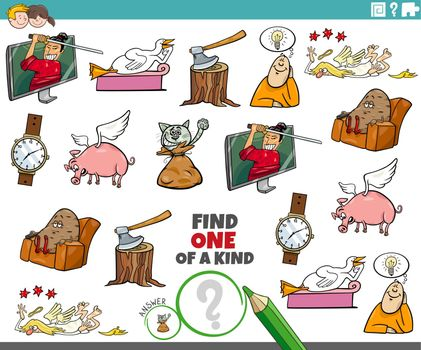 one of a kind task with cartoon characters and objects