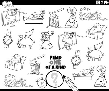 one of a kind game with cartoon characters coloring book page