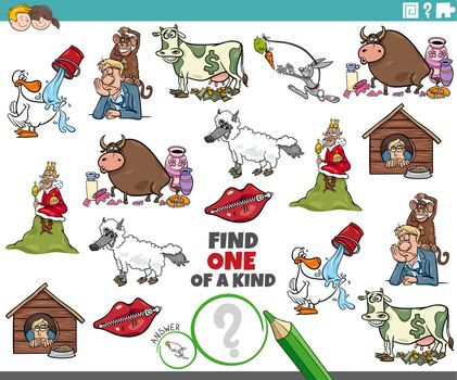 one of a kind task for children with cartoon sayings