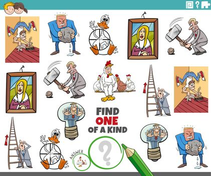one of a kind task for children with cartoon proverbs