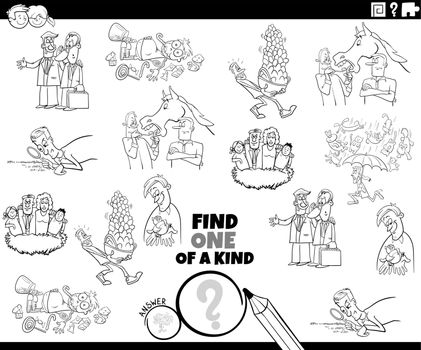 one of a kind game with cartoon proverbs coloring book page