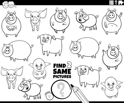 find two same pigs game coloring book page
