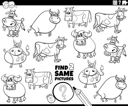 find two same farm animals game coloring book page