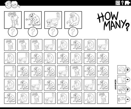 how many cartoon animals counting game coloring book page