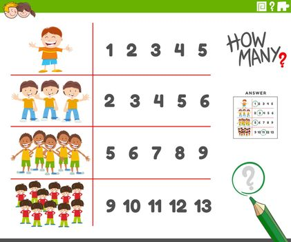 counting educational activity with cartoon boys characters
