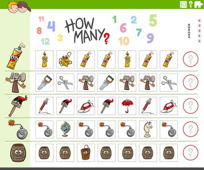 counting task for children with cartoon objects