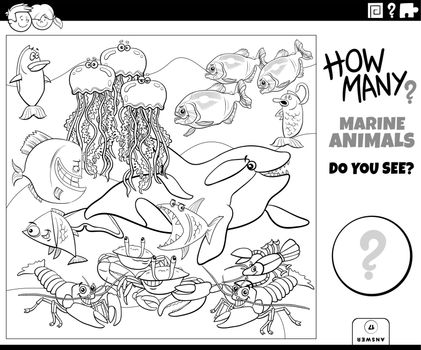 counting marine animals educational game coloring book page