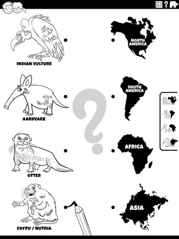 match animals and continents game coloring book page