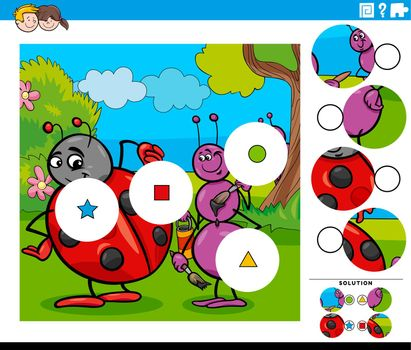 match pieces game with cartoon insects characters