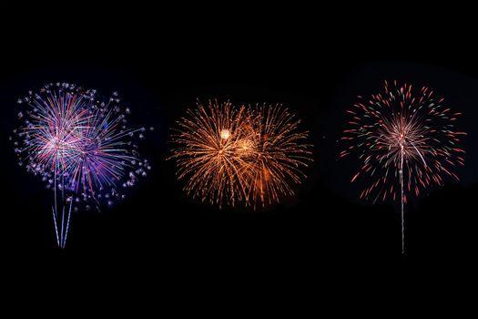 Shiny colorful fireworks.