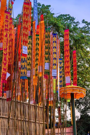 Paper flag on the pile of sand or Sand pagoda in Songkran festival at Jedlin Temple located in Muang, Chiang Mai, Thailand.