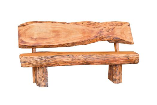 Wooden bench isolated on white background.
