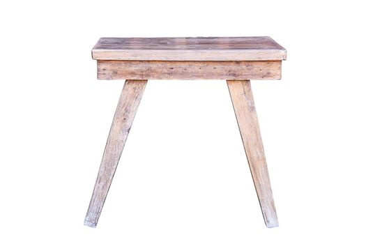Old wooden table isolated on white background.