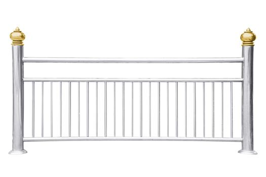 Stainless steel railing isolated on white.
