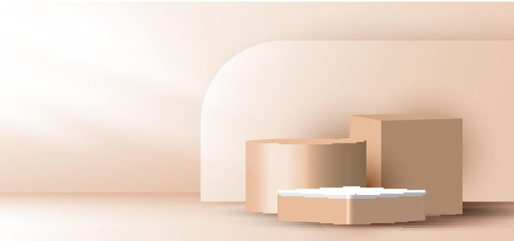 3D realistic elegant brown geometric cylinder, cube on layers rounded backdrop on beige background