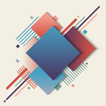 Abstract geometric squares blue and red gradient color with stripes lines elements on white background
