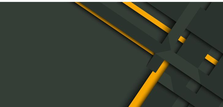 Banner web design template yellow and green geometric stripes overlapping with shadow on dark background.
