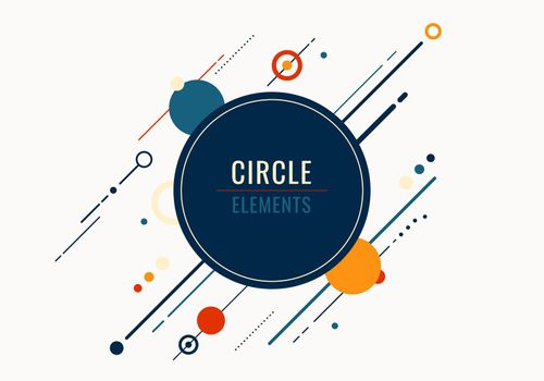 Abstract geometric circles and diagonal lines elements on white background