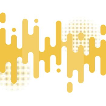 Abstract yellow rounded lines transition pattern with halftone on white background