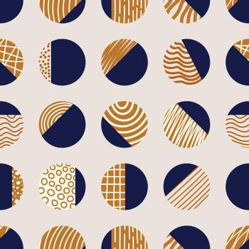Abstract elegant blue and brown circles seamless pattern with hand drawn striped line texture isolated on white background