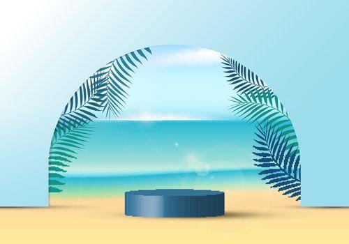 3D realistic blue color geometric platform round shape lighting mockup scene nature summer vacation tropical background