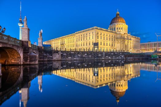 The reconstructed Berlin City Palace at dusk