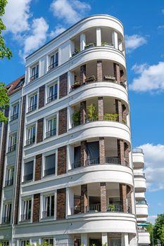 Modern white upscale apartment block