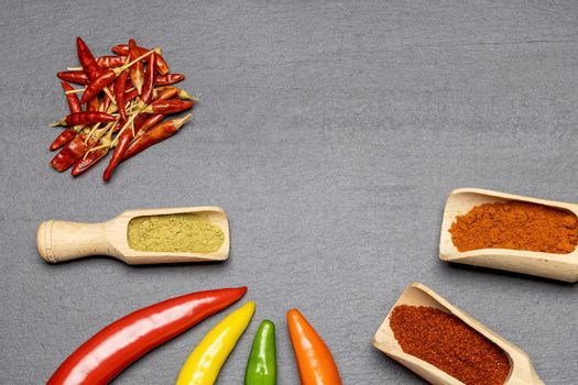 Multicolored fresh chilli peppers and dried and ground chilli on the desk.