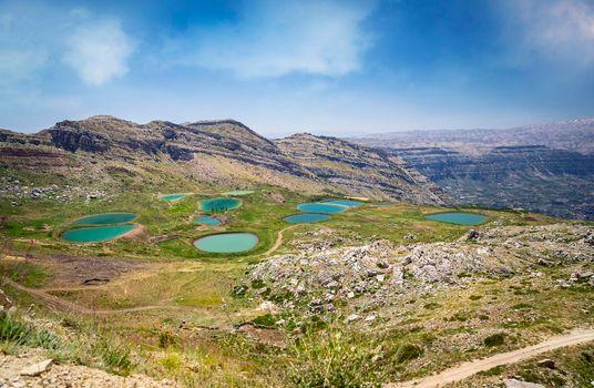 Beautiful Mountainous Landscape with Lakes. Fresh Untouched Nature. Amazing View of Lebanon. Akoura Secret Lake. Laqlouq.