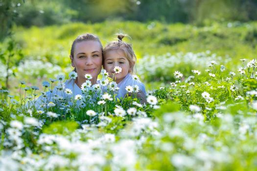 Nice Young Mother with Cute Little Baby Having Fun in Fresh Daisy Flower Field. Spending Happy Active Summer Holidays in Countryside.