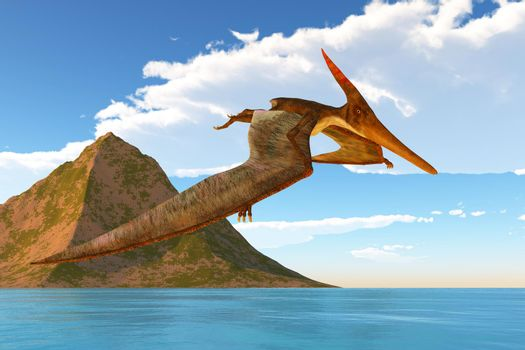 A Pteranodon reptile looks for prey during the Cretaceous Period of North America.
