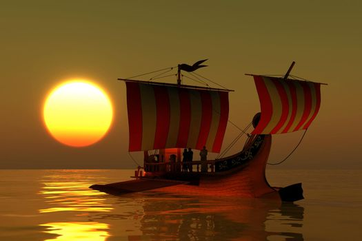 An ancient Roman merchant galley warship transport a Roman senator and cargo in the Mediterranean Sea at sunset.