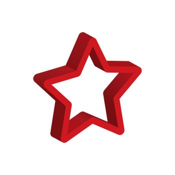 Three-dimensional outline of a five-pointed star. Vector volume icon