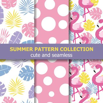 Summer pattern collection. Flamingo theme, Summer banner. Vector