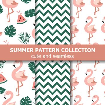 Summer pattern collection. Flamingo and watermelon theme, Summer banner. Vector