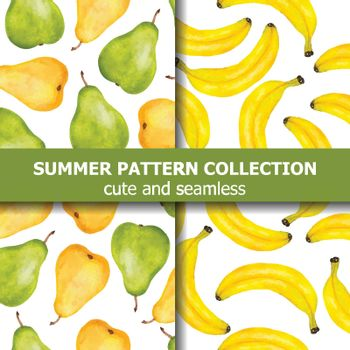 Summer pattern collection with watercolor pears and bananas. Summer banner. Vector