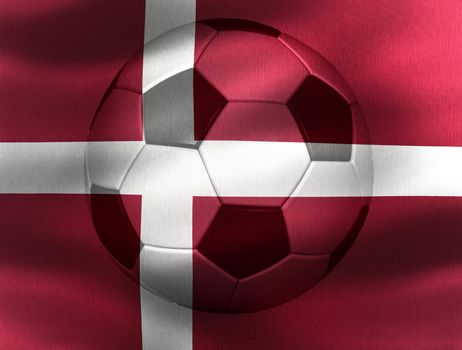 3D-Illustration of a Denmark flag with a soccer ball moving in the wind