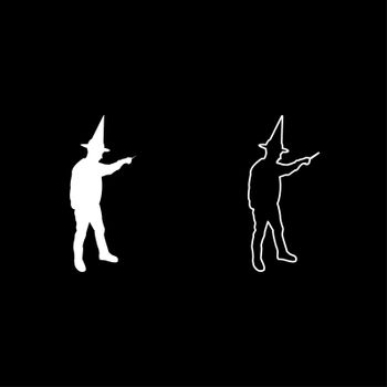 Wizard holds magic wand trick Waving Sorcery concept Magician Sorcerer Fantasy person Warlock man in robe with magical stick Witchcraft in hat mantle Mage conjure Mystery idea Enchantment silhouette white color vector illustration solid outline style image