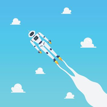 Android robot flying on blue sky