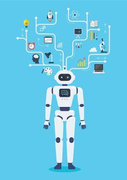 Robot cyborg virtual infographic