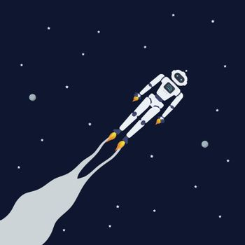Android robot flying on space background