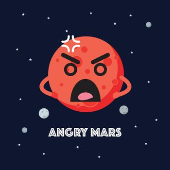 Angry mars character emoticon on space background