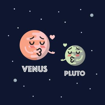 Venus in love with pluto character emoticon on space background
