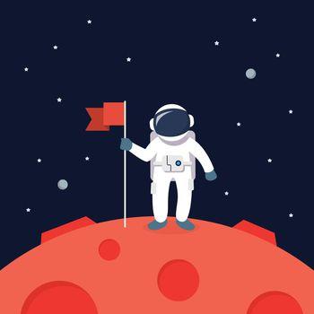 Astronaut Landing On Mars Holding Flag