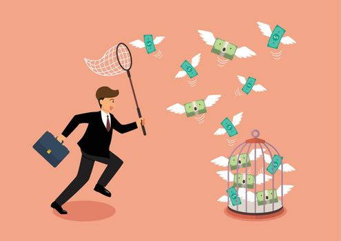 Businessman trying to catch flying money into birdcage