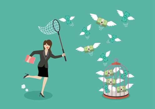Business woman trying to catch flying money into birdcage