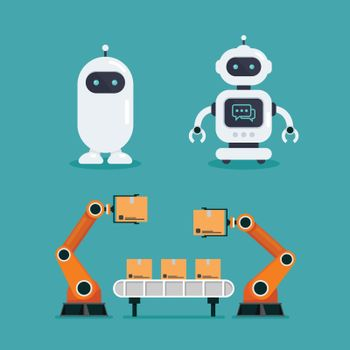 Robot Chatbot and Heavy automation robot machine